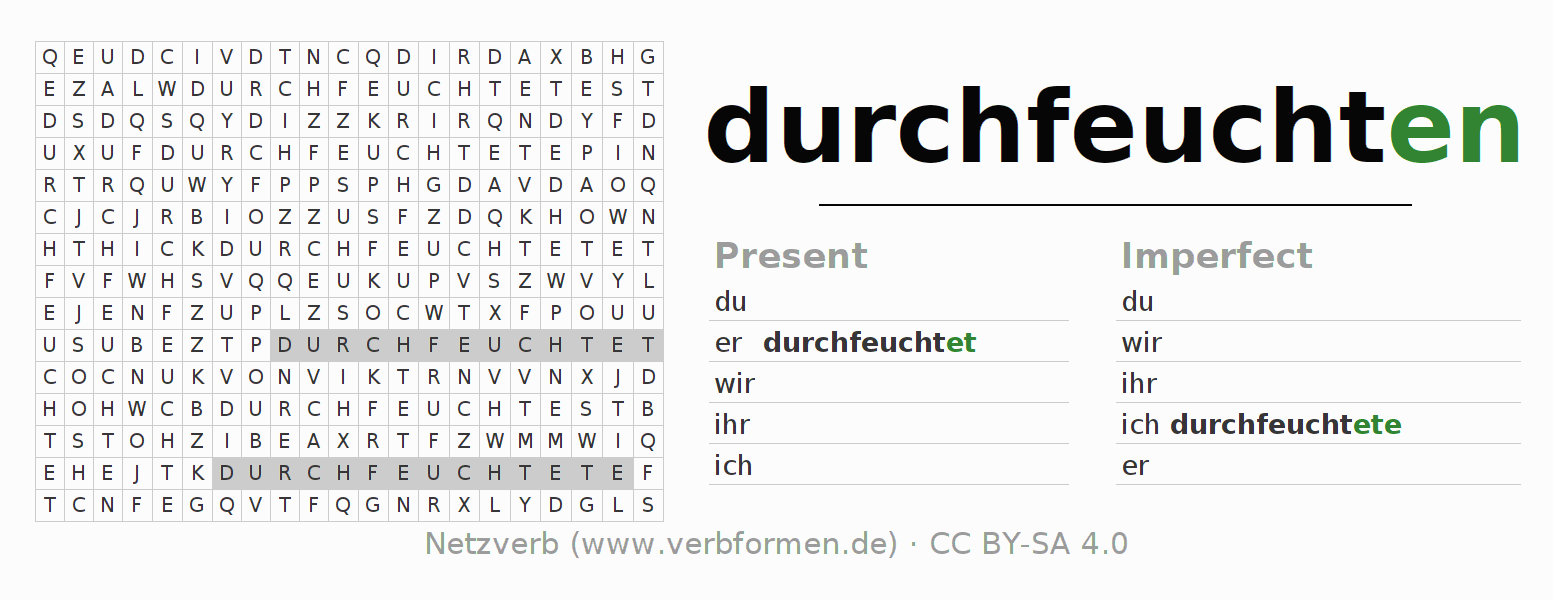 Word search puzzle for the conjugation of the verb durchfeuchten