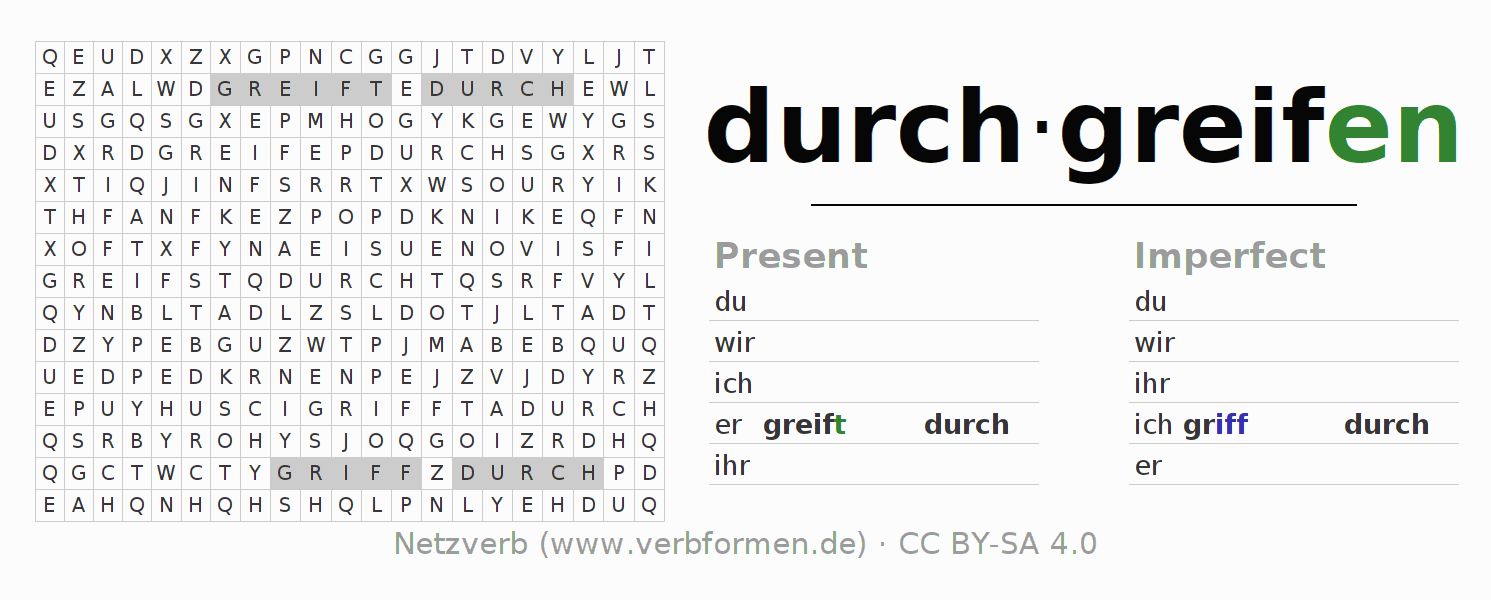 Word search puzzle for the conjugation of the verb durchgreifen
