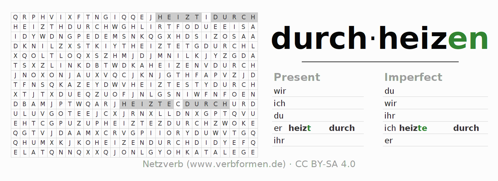 Word search puzzle for the conjugation of the verb durchheizen