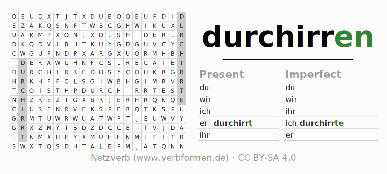 Word search puzzle for the conjugation of the verb durchirren
