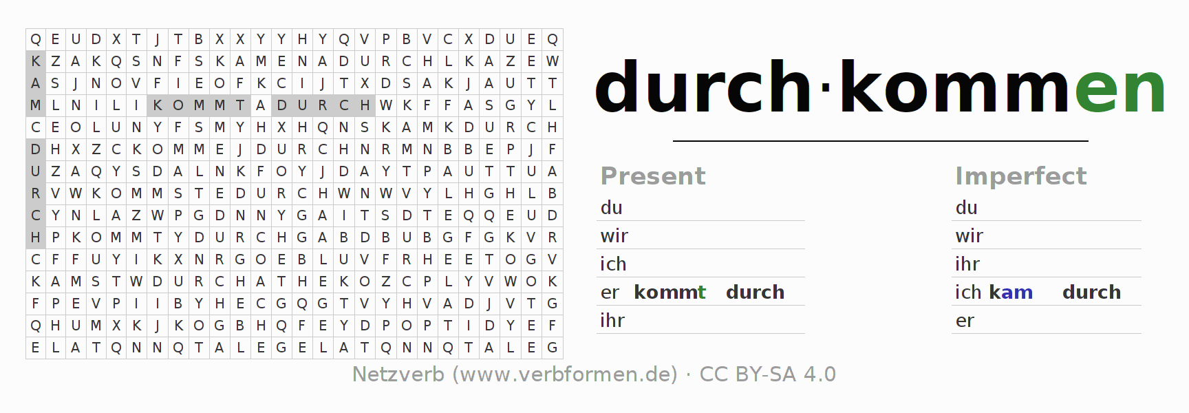 Word search puzzle for the conjugation of the verb durchkommen