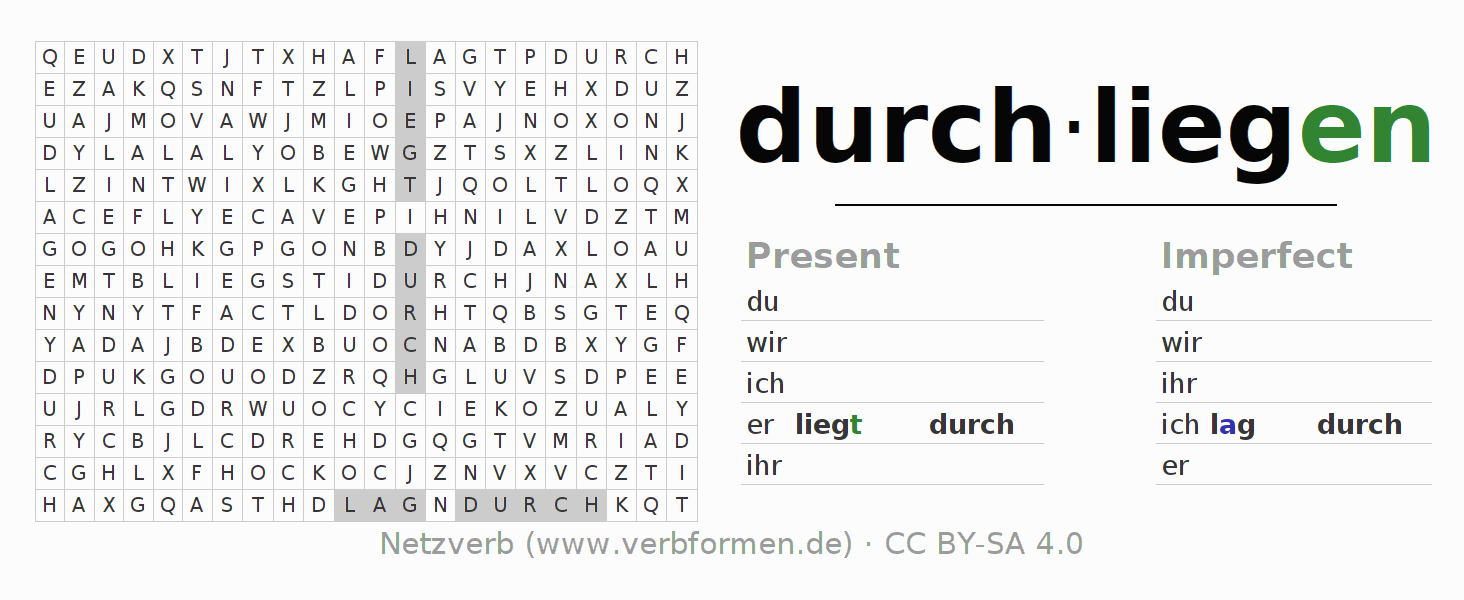 Word search puzzle for the conjugation of the verb durchliegen