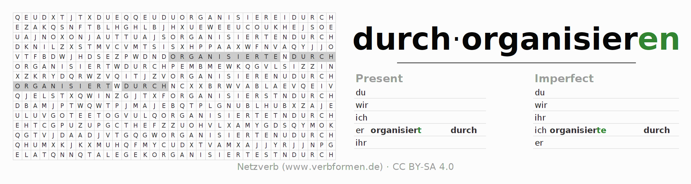 Word search puzzle for the conjugation of the verb durchorganisieren