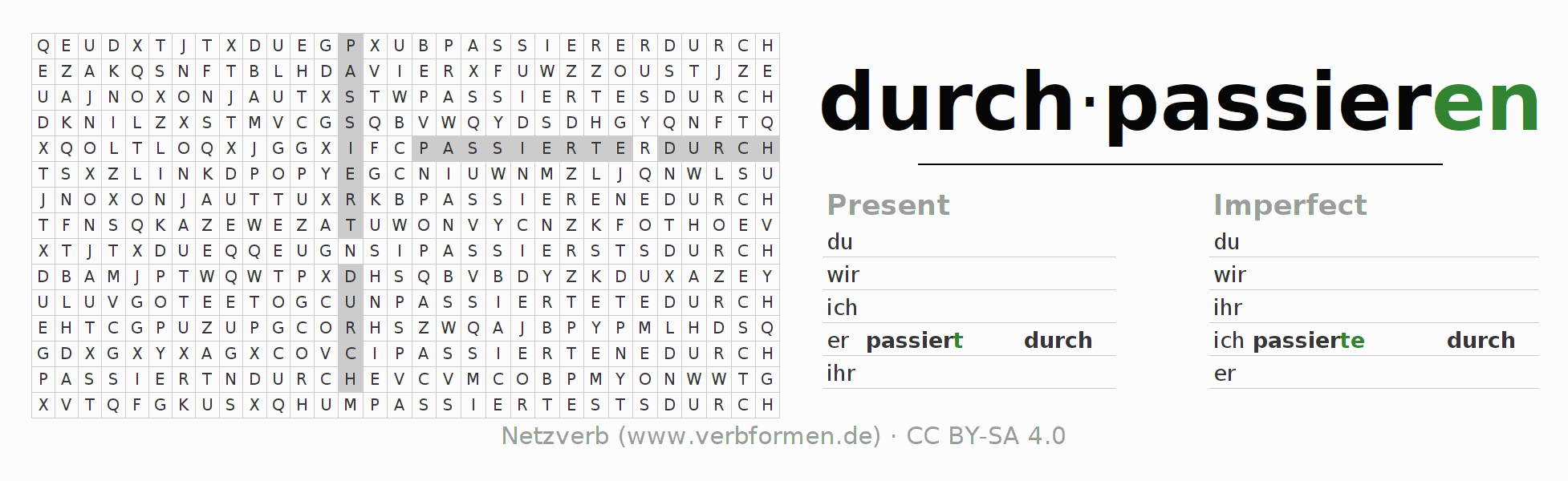 Word search puzzle for the conjugation of the verb durchpassieren