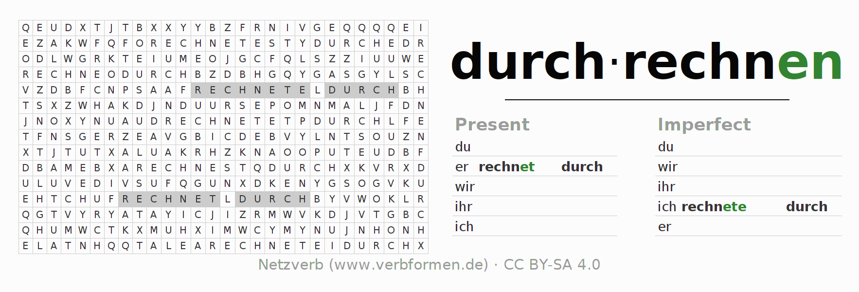 Word search puzzle for the conjugation of the verb durchrechnen