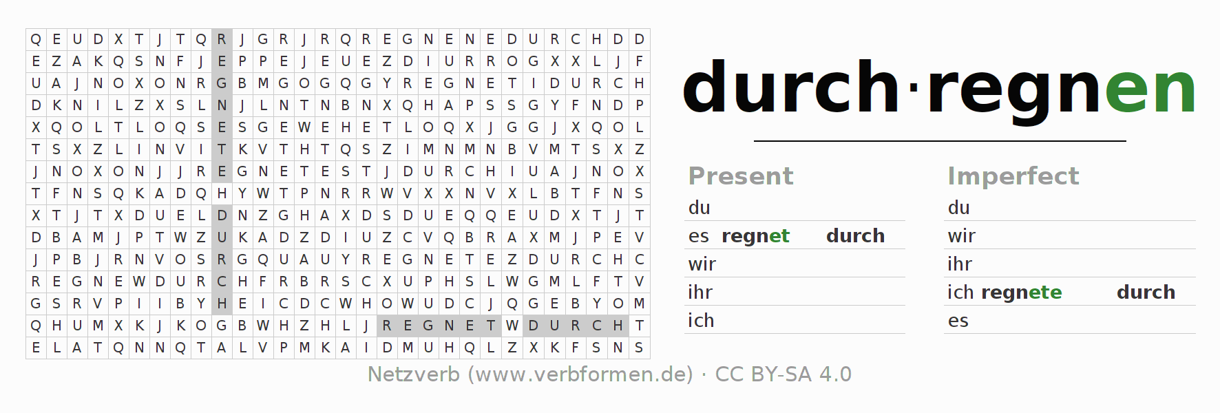 Word search puzzle for the conjugation of the verb durchregnen