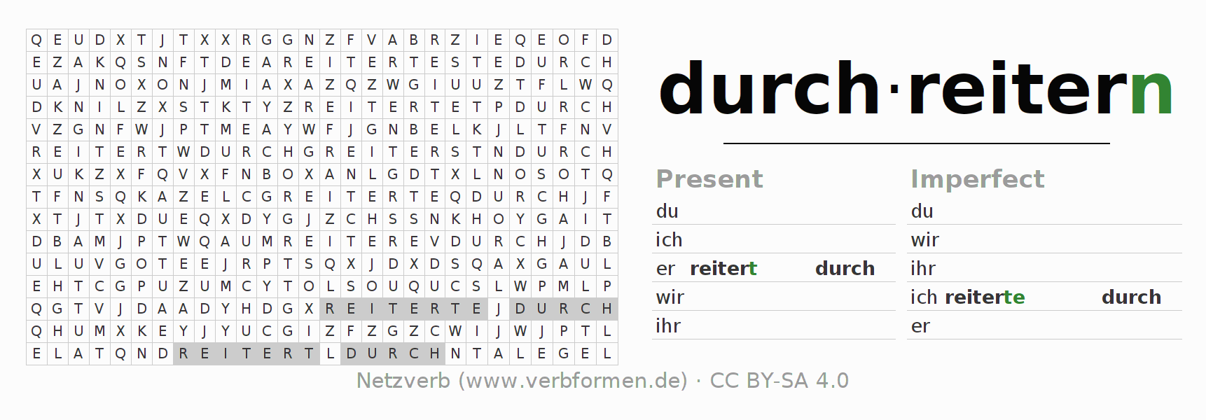 Word search puzzle for the conjugation of the verb durchreitern