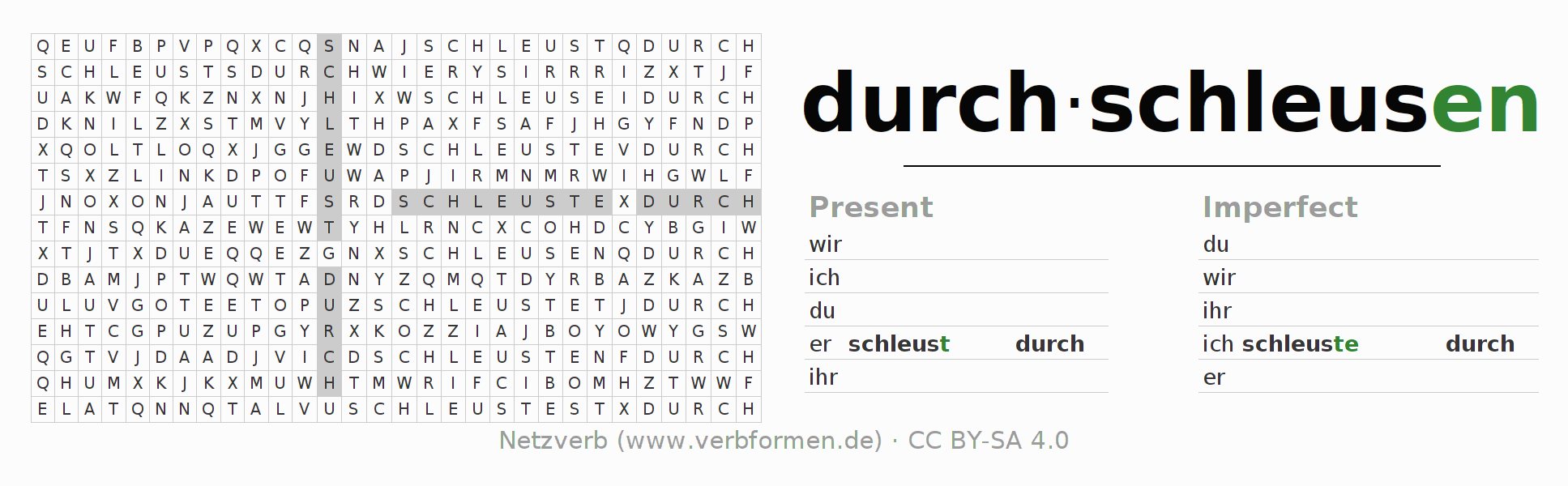 Word search puzzle for the conjugation of the verb durchschleusen