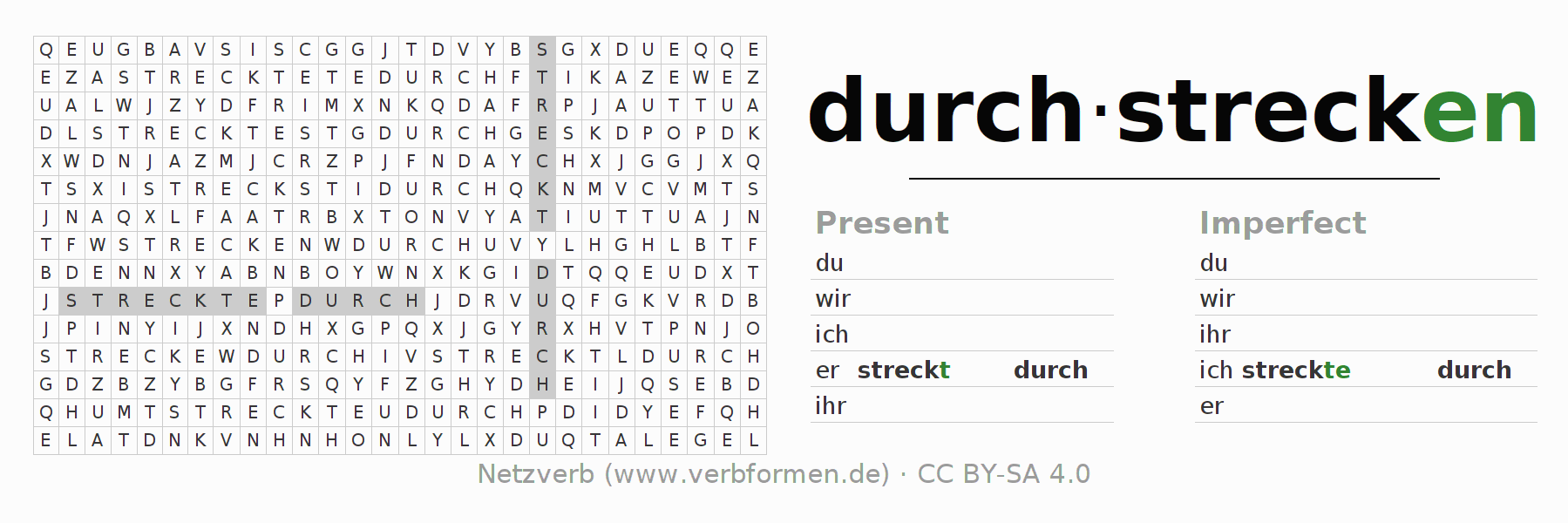 Word search puzzle for the conjugation of the verb durchstrecken