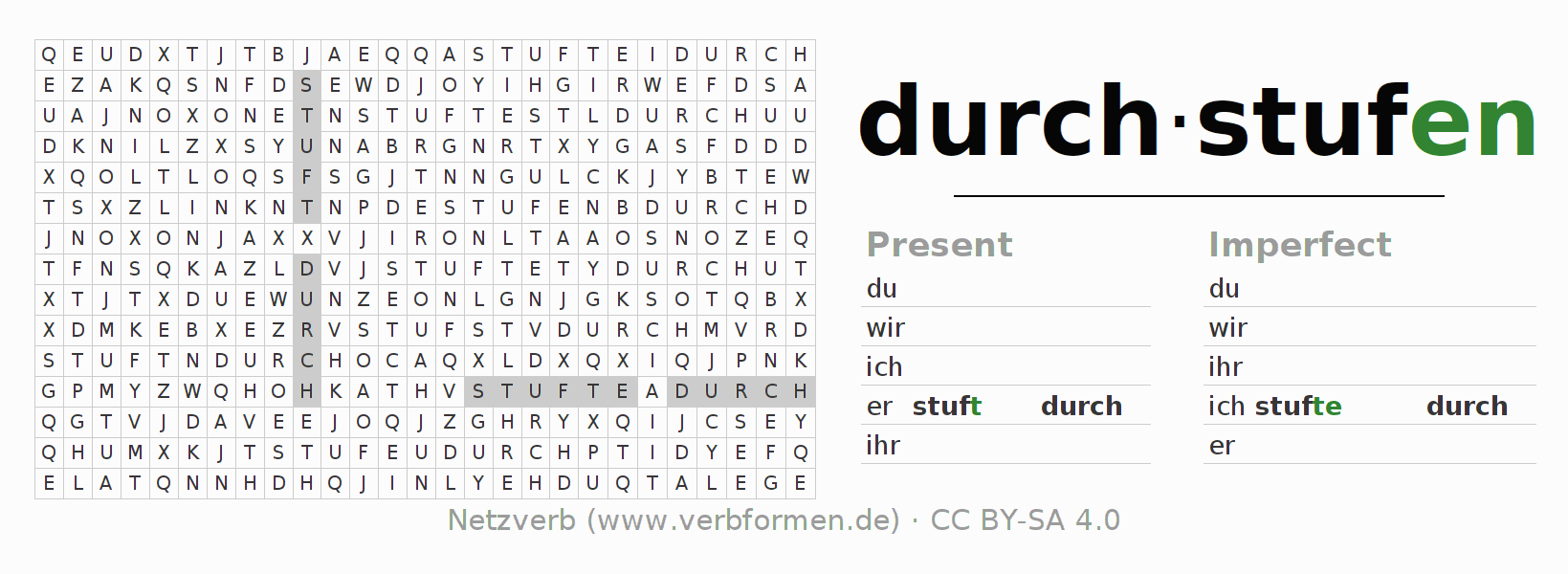 Word search puzzle for the conjugation of the verb durchstufen