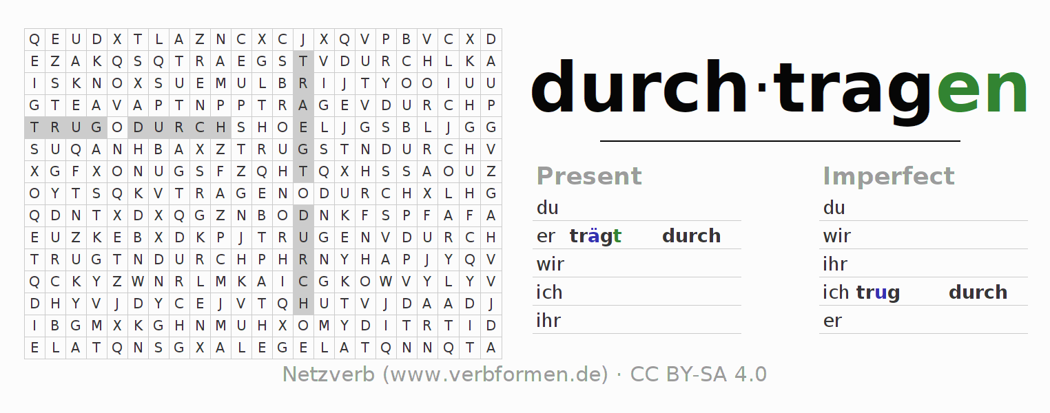Word search puzzle for the conjugation of the verb durchtragen