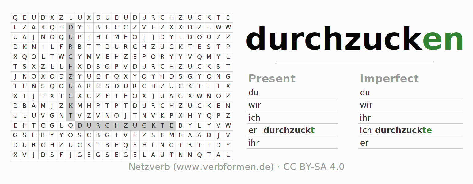 Word search puzzle for the conjugation of the verb durchzucken