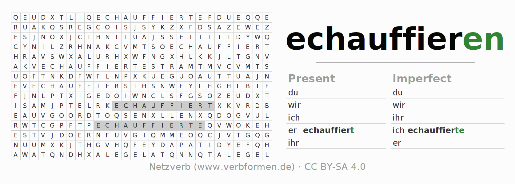 Word search puzzle for the conjugation of the verb echauffieren