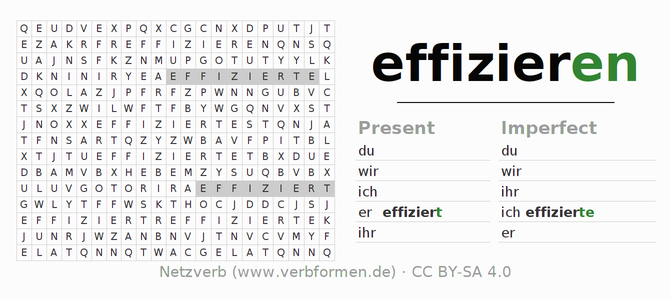 Word search puzzle for the conjugation of the verb effizieren
