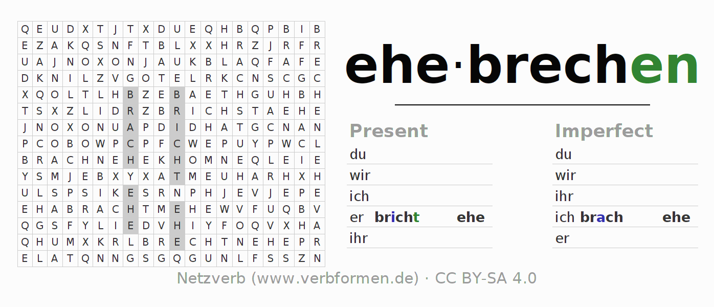 Word search puzzle for the conjugation of the verb ehebrechen