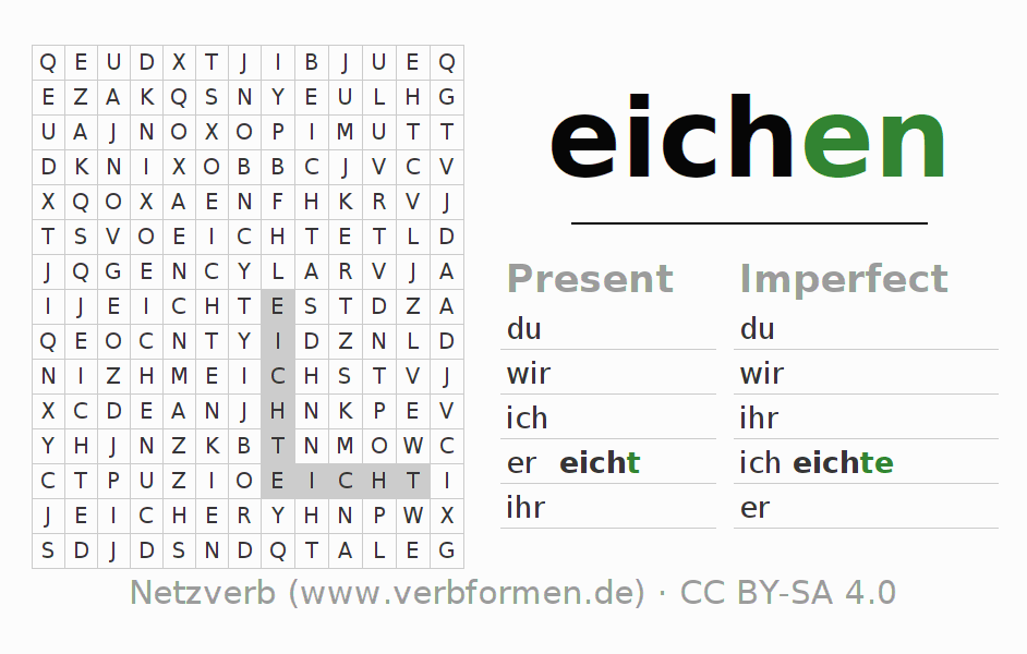 Word search puzzle for the conjugation of the verb eichen