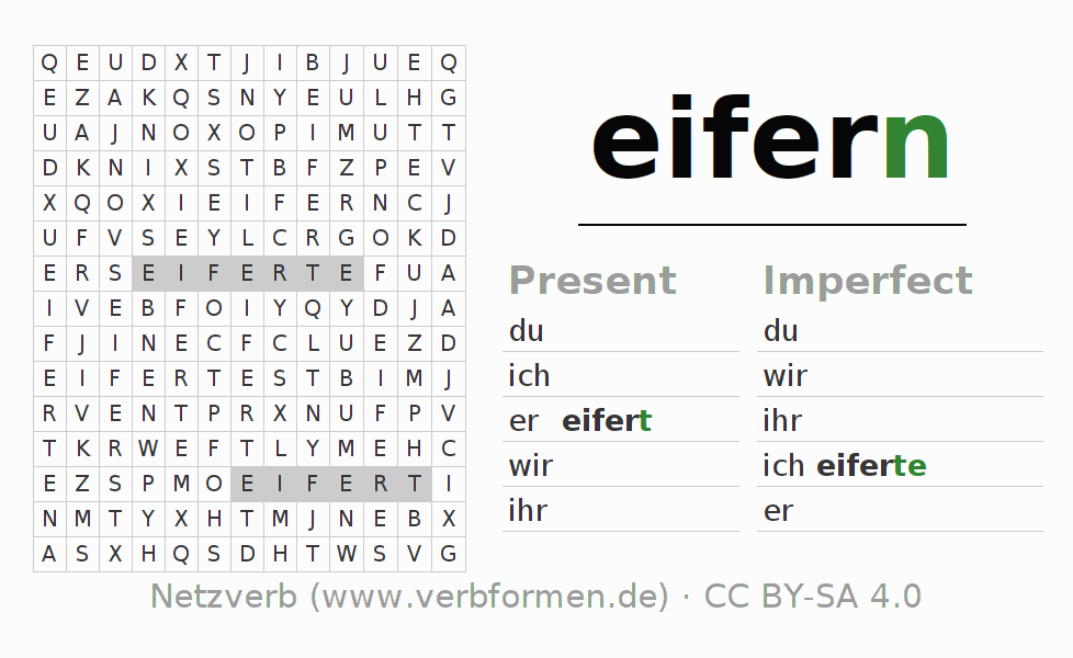 Word search puzzle for the conjugation of the verb eifern