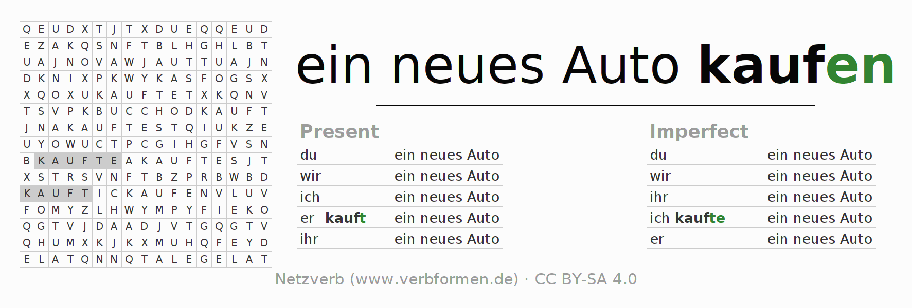 Word search puzzle for the conjugation of the verb ein neues Auto kaufen