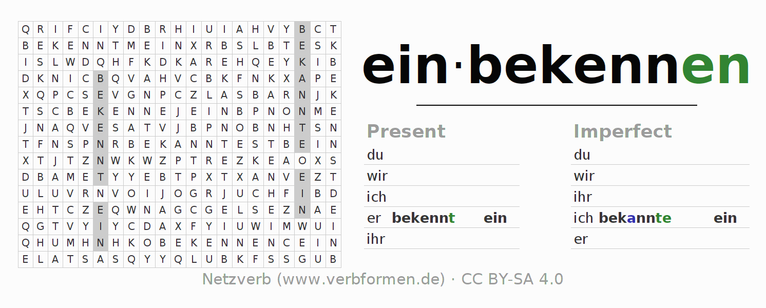 Word search puzzle for the conjugation of the verb einbekennen