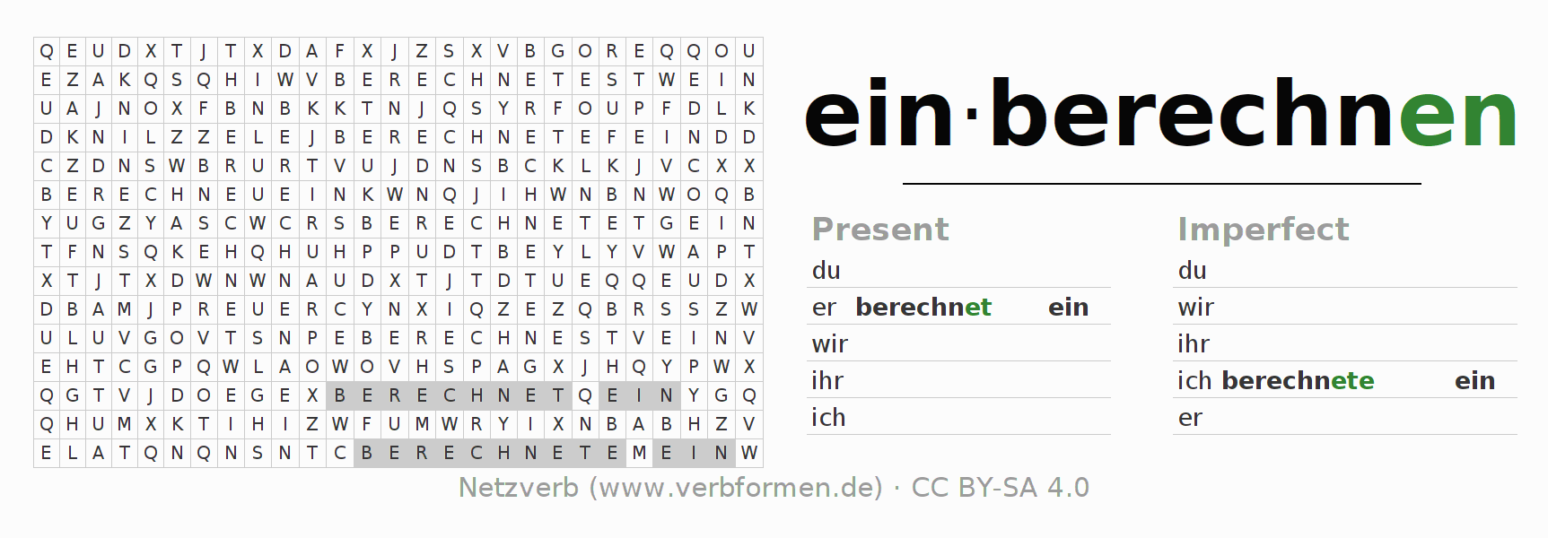Word search puzzle for the conjugation of the verb einberechnen