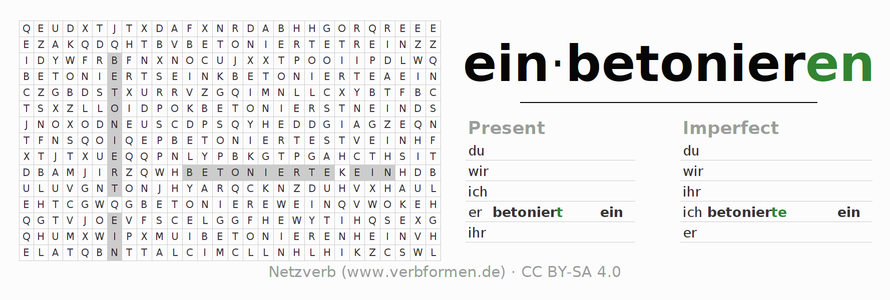 Word search puzzle for the conjugation of the verb einbetonieren