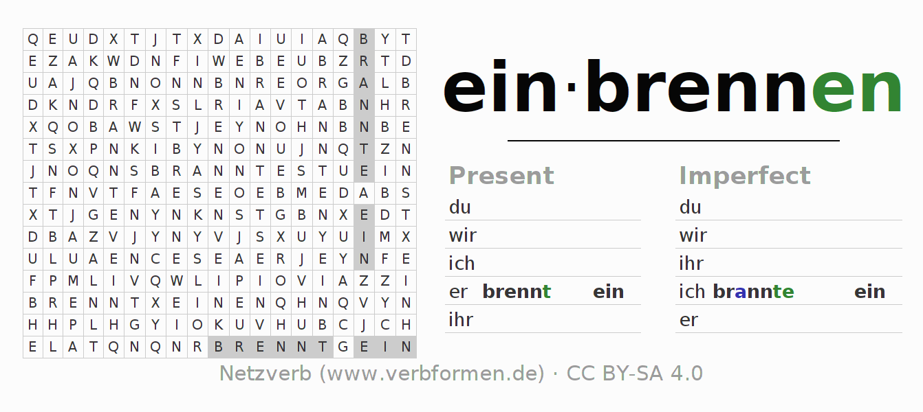 Word search puzzle for the conjugation of the verb einbrennen (hat)