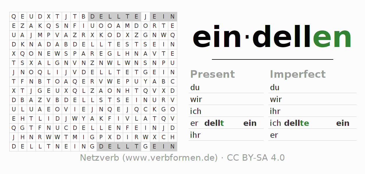 Word search puzzle for the conjugation of the verb eindellen