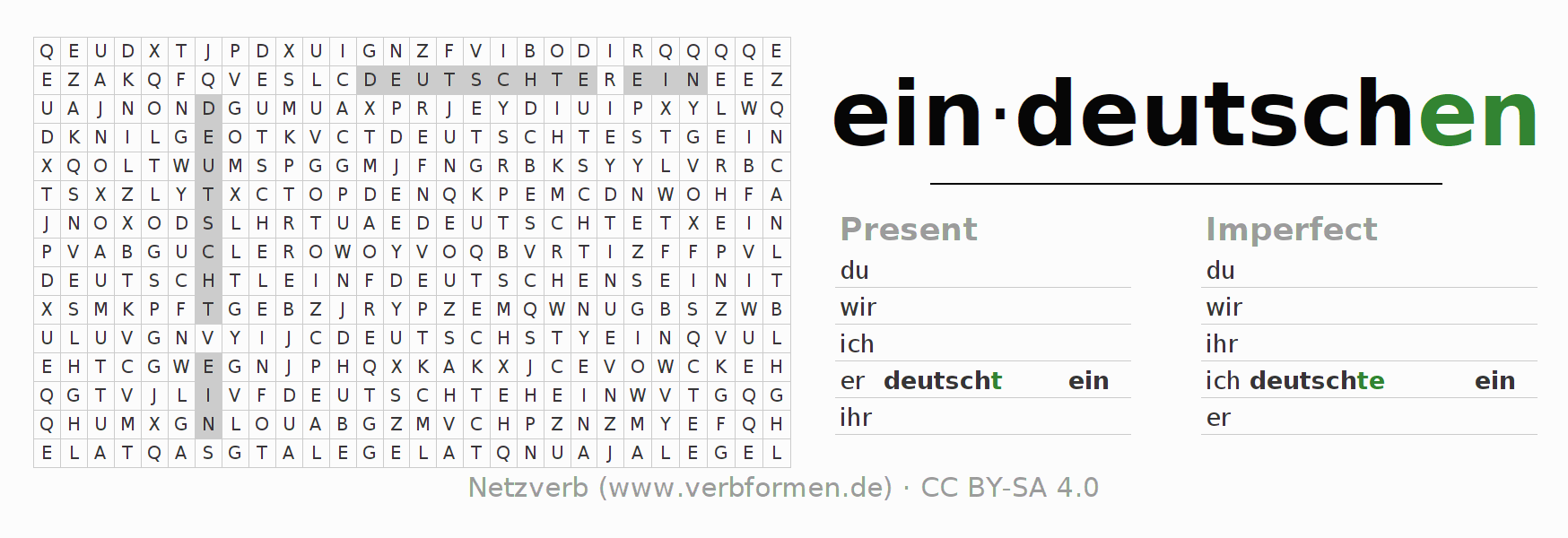 Word search puzzle for the conjugation of the verb eindeutschen