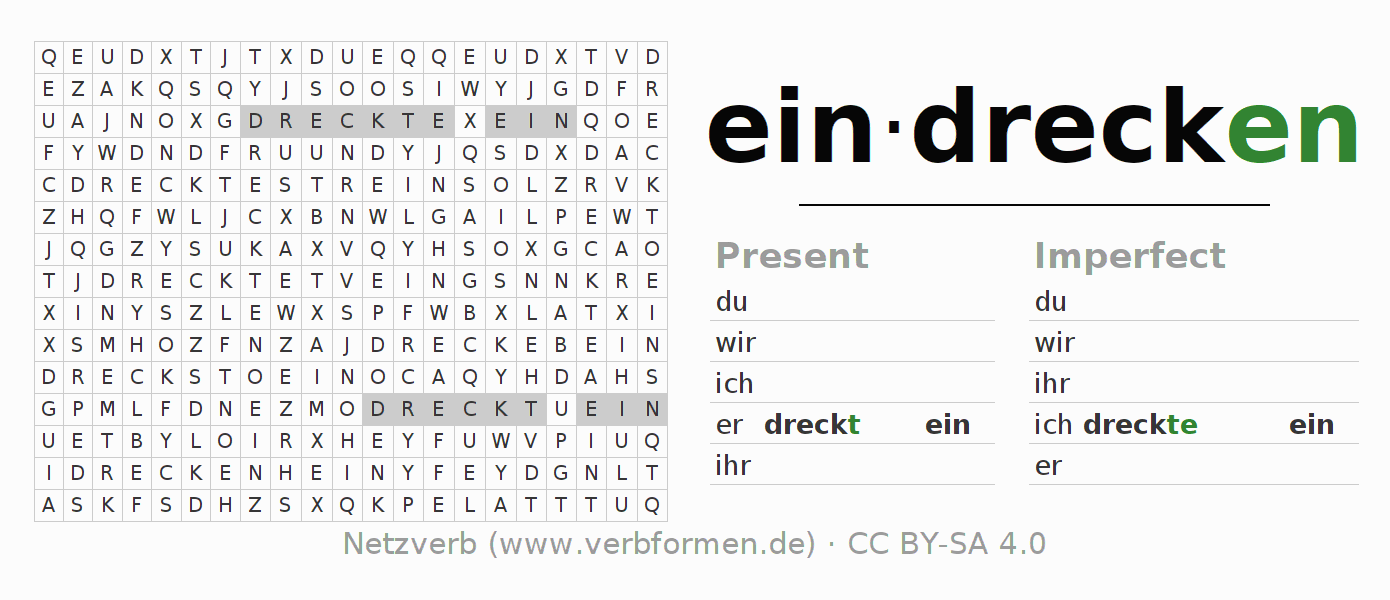 Word search puzzle for the conjugation of the verb eindrecken (hat)