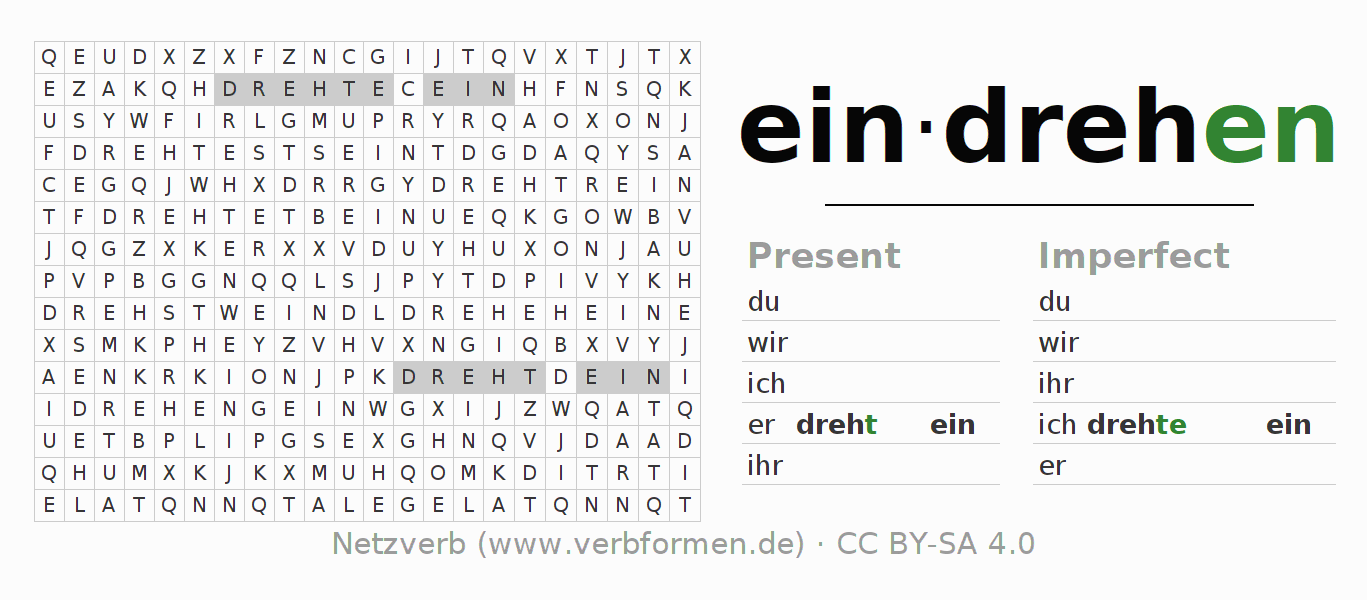 Word search puzzle for the conjugation of the verb eindrehen