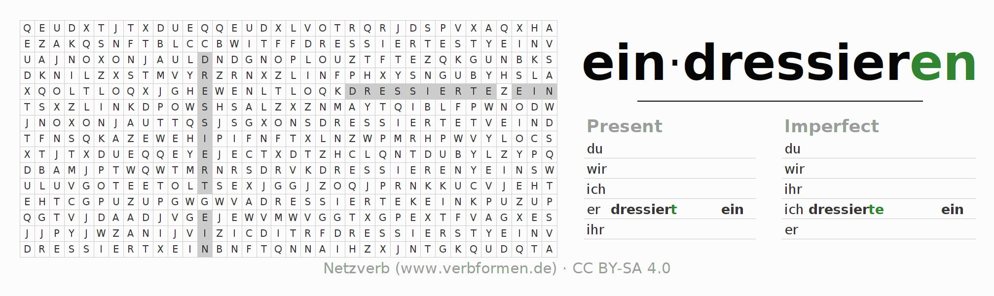 Word search puzzle for the conjugation of the verb eindressieren