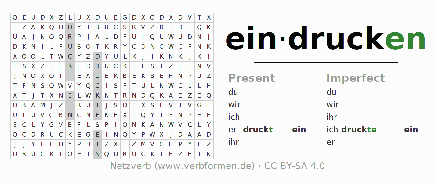Word search puzzle for the conjugation of the verb eindrucken