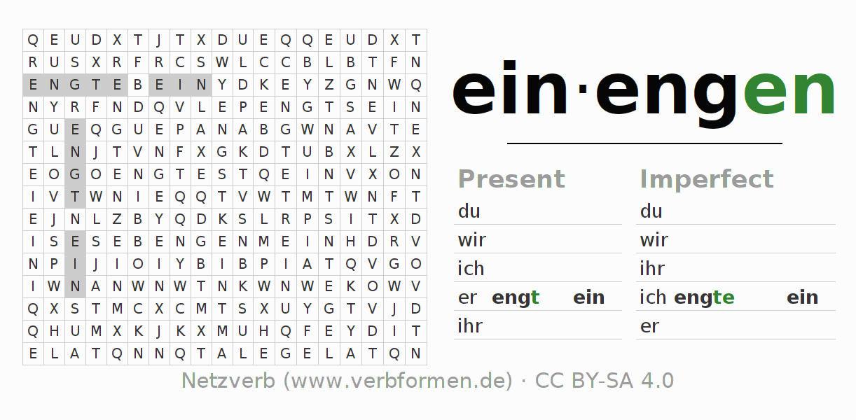 Word search puzzle for the conjugation of the verb einengen
