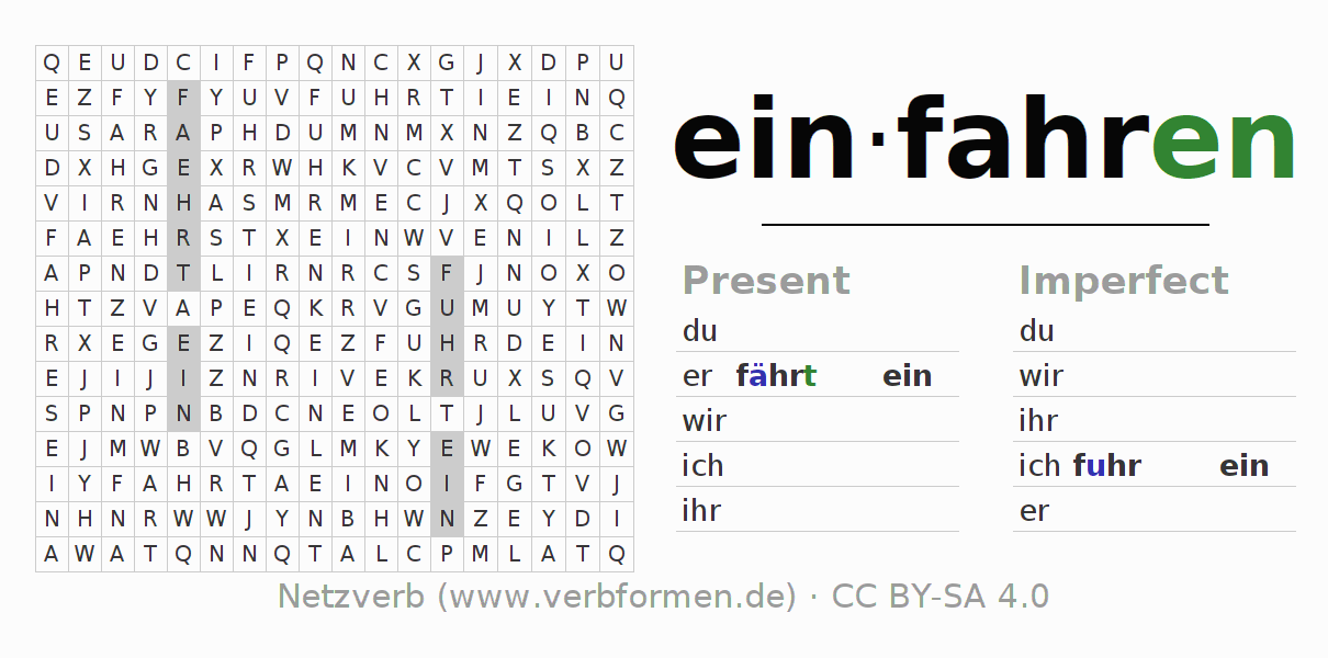 Word search puzzle for the conjugation of the verb einfahren (hat)