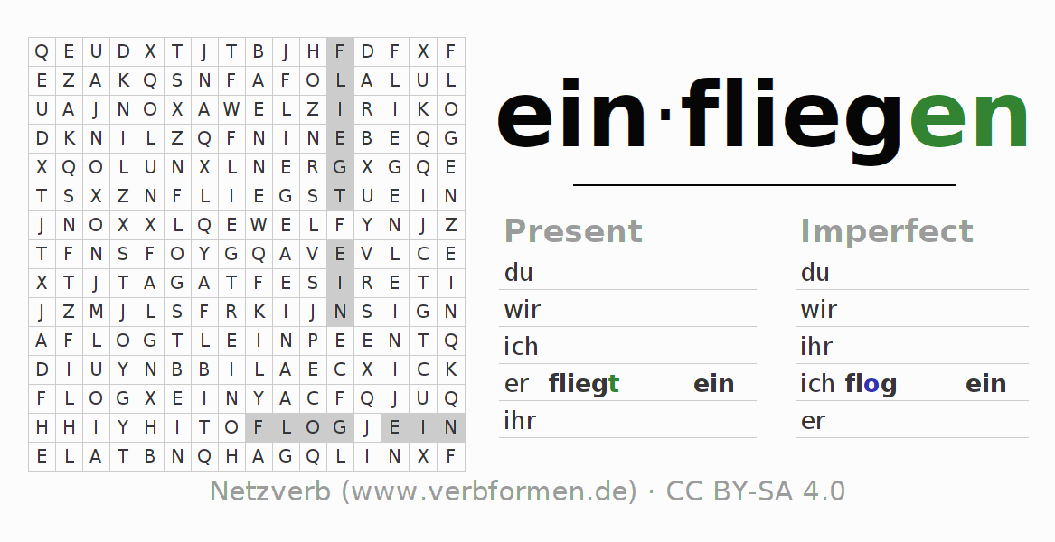 Word search puzzle for the conjugation of the verb einfliegen (hat)