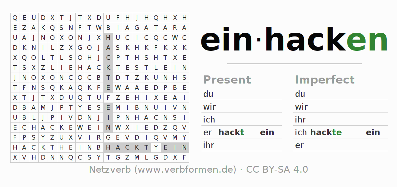 Word search puzzle for the conjugation of the verb einhacken
