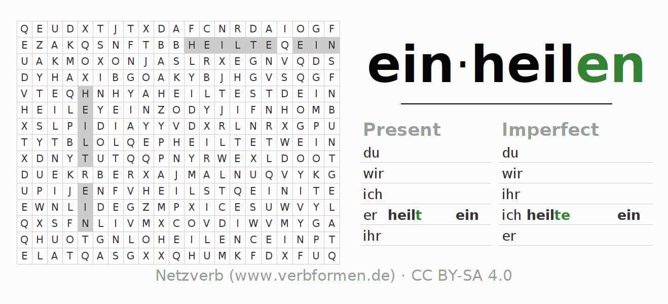 Word search puzzle for the conjugation of the verb einheilen