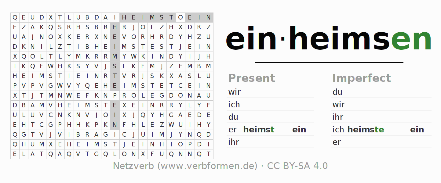 Word search puzzle for the conjugation of the verb einheimsen