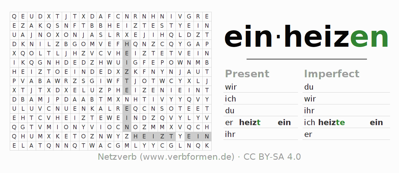 Word search puzzle for the conjugation of the verb einheizen