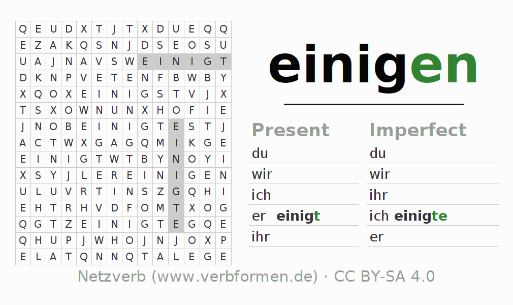 Word search puzzle for the conjugation of the verb einigen