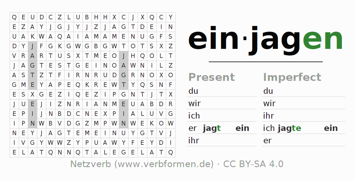 Word search puzzle for the conjugation of the verb einjagen
