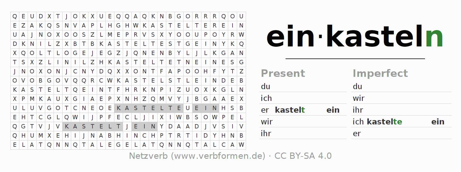 Word search puzzle for the conjugation of the verb einkasteln