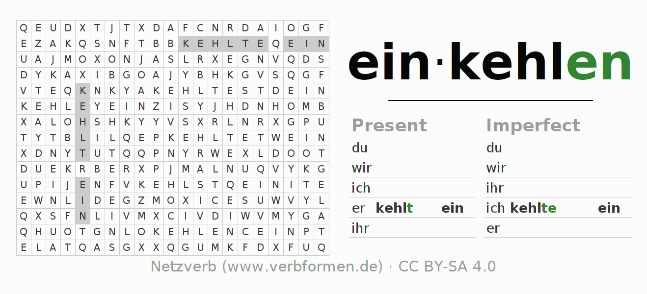 Word search puzzle for the conjugation of the verb einkehlen