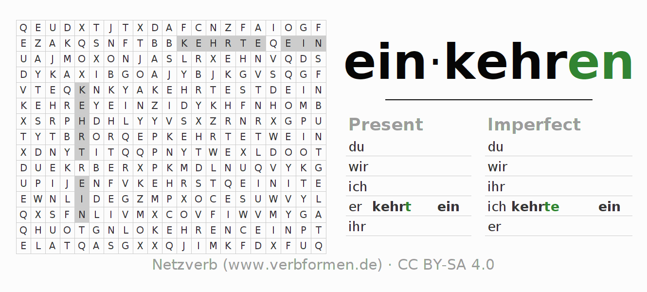 Word search puzzle for the conjugation of the verb einkehren