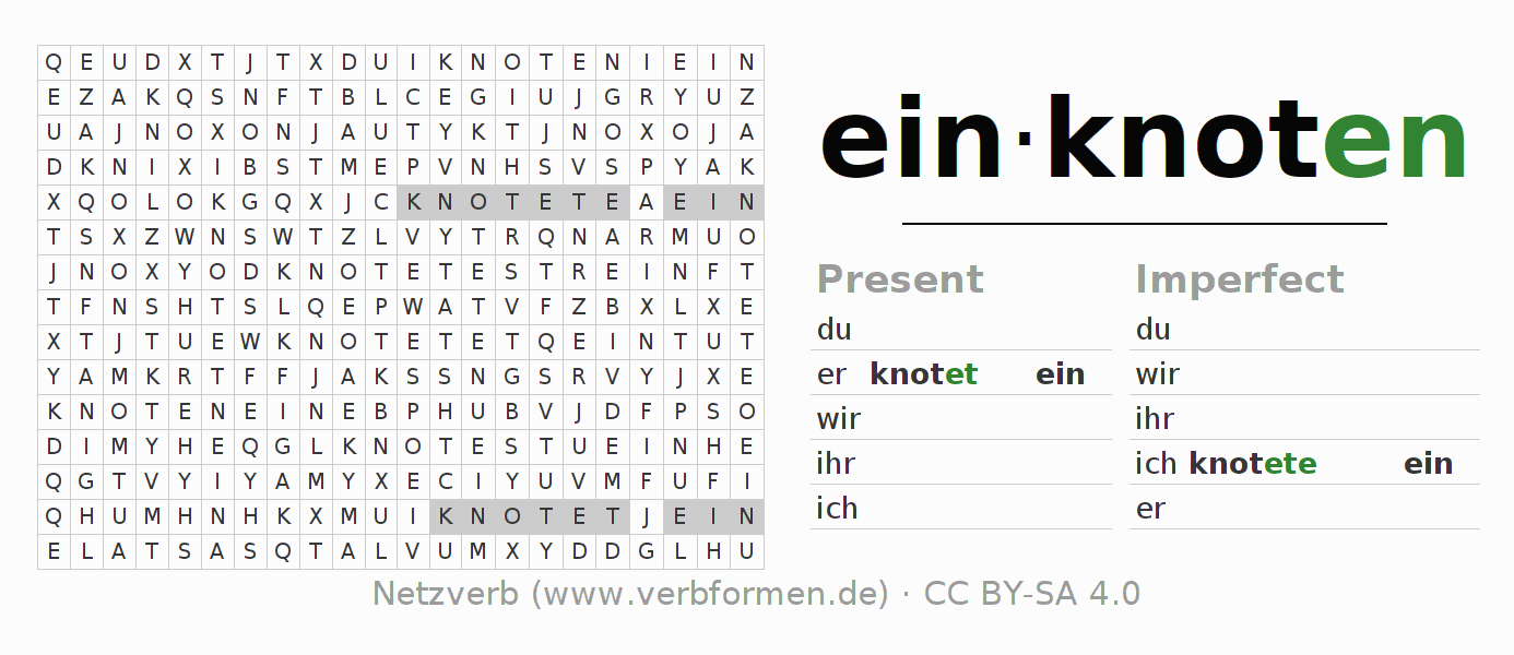 Word search puzzle for the conjugation of the verb einknoten
