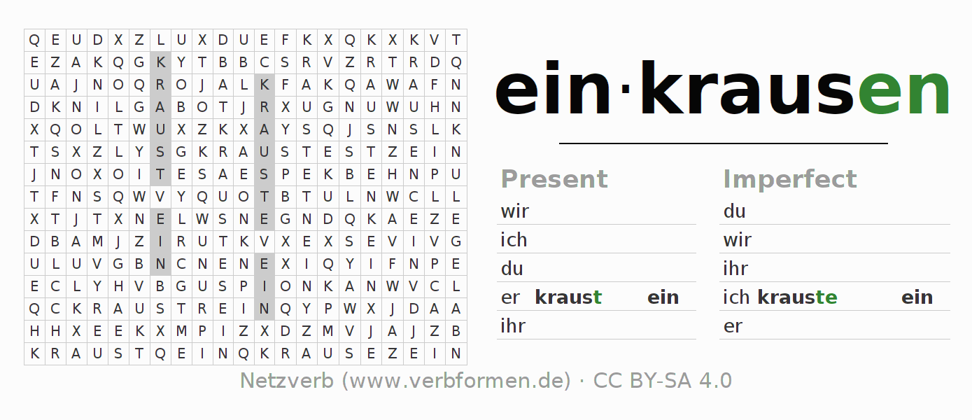 Word search puzzle for the conjugation of the verb einkrausen