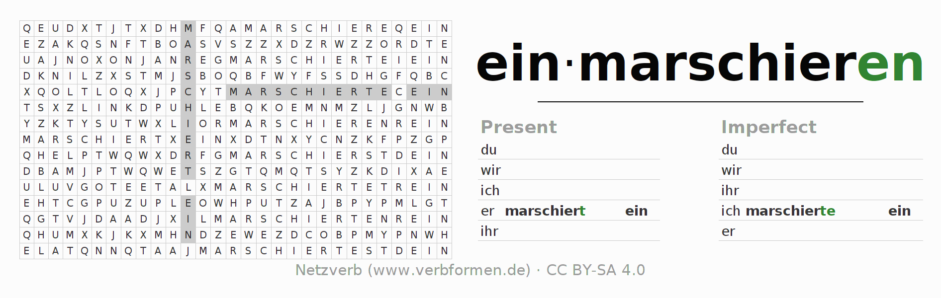 Word search puzzle for the conjugation of the verb einmarschieren