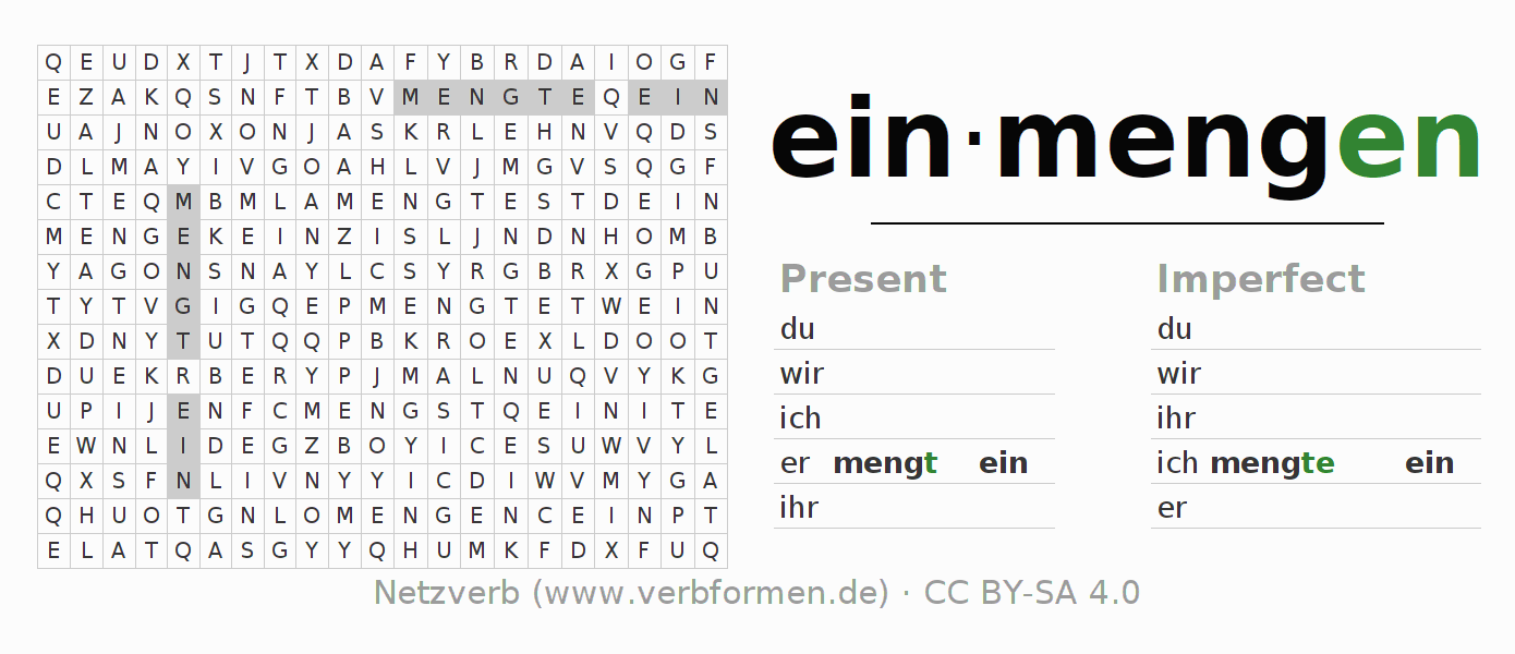 Word search puzzle for the conjugation of the verb einmengen