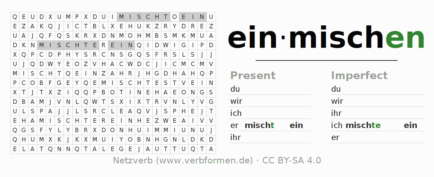 Word search puzzle for the conjugation of the verb einmischen