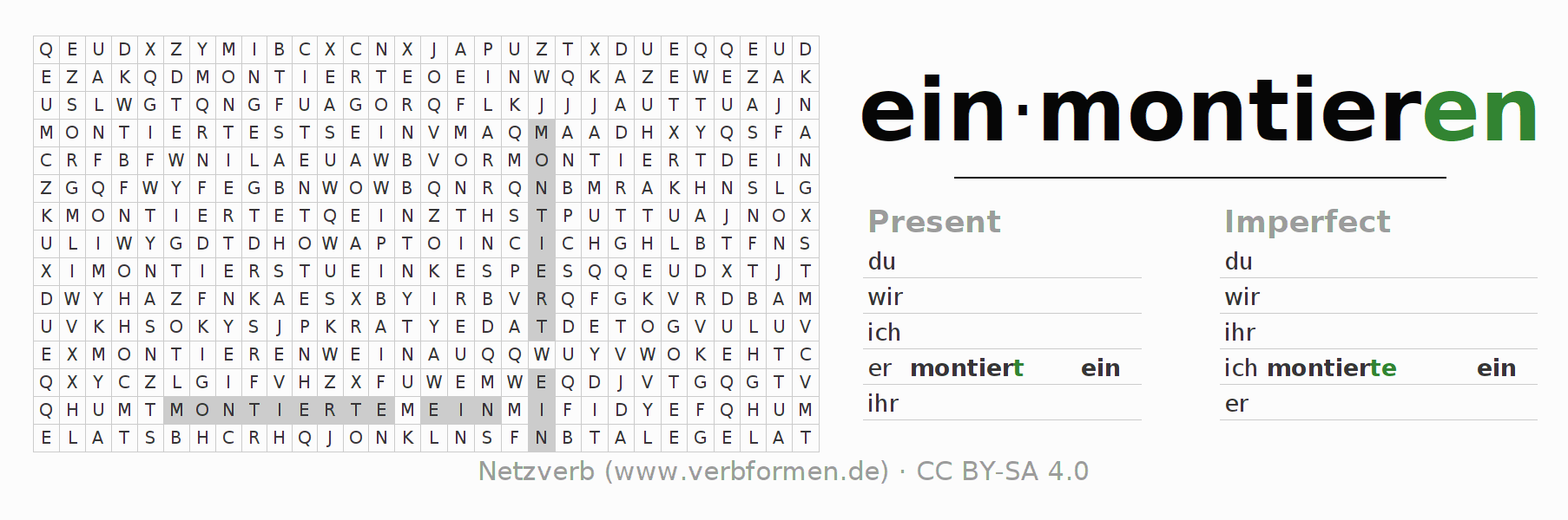 Word search puzzle for the conjugation of the verb einmontieren